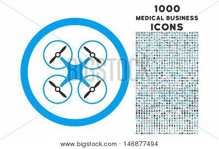 Copter rounded vector bicolor icon with 1000 medical business icons. Set style is flat pictograms, blue and gray colors, white background.