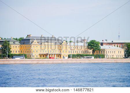 Embankment of St. Petersburg on the Neva River