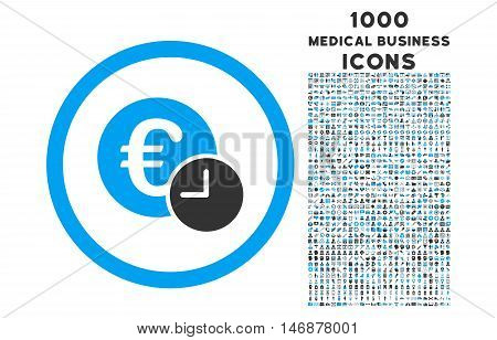 Euro Credit rounded vector bicolor icon with 1000 medical business icons. Set style is flat pictograms, blue and gray colors, white background.