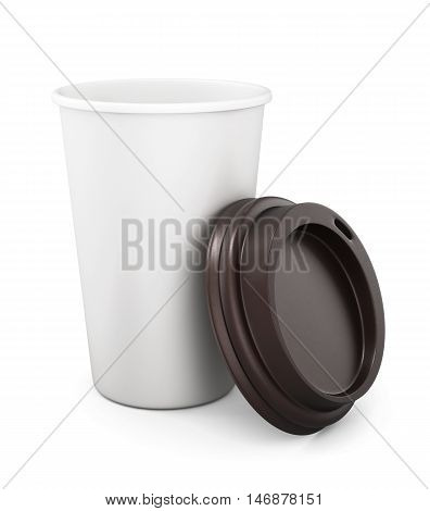 Plastic cup of coffee with an open lid on a white background. 3d rendering