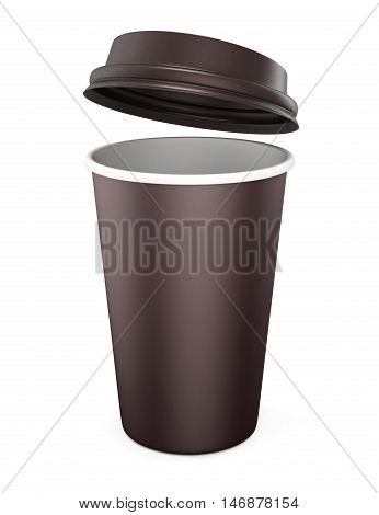 Disposable Cup with the lid open on a white background. Mockup for your design. 3d rendering