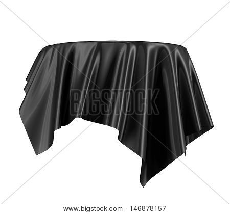 Black satin fabric floating in the air isolated on white background. 3d rendering. Digital illustration.