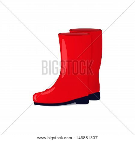 Vector illustration of red color rubber boots isolated on white background. Shoes for fall and spring. Wellingtons for walking in the rain.
