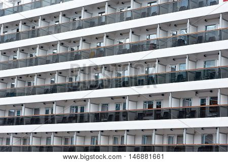 Many decks of cruise ship staterooms and suites