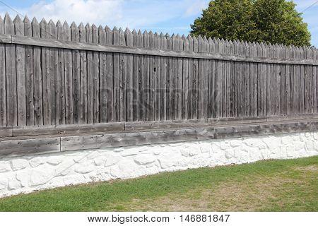 A wooden palisade wall on Mackinac Island, Michigan