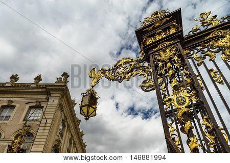Beautiful Golden Covered Street Lamp In Nancy