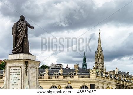 Sculpture Of King Stanislas On The Central Square Of Nancy