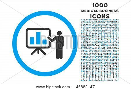 Bar Chart Presentation rounded glyph bicolor icon with 1000 medical business icons. Set style is flat pictograms, blue and gray colors, white background.
