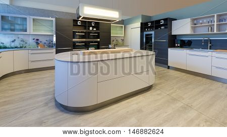 large designer kitchen with island rounded corners and lacquered fronts