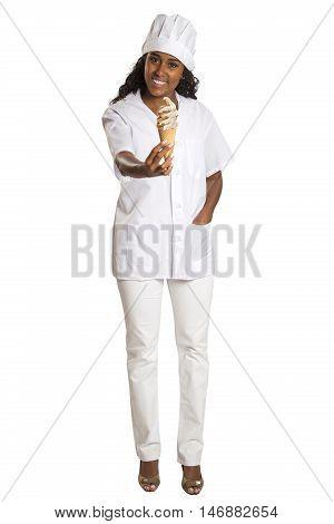Ice cream sellerwoman giving ice cream. White background.