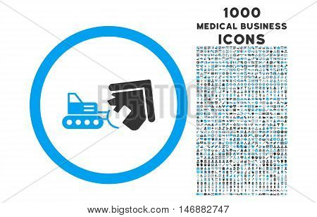 Demolition rounded glyph bicolor icon with 1000 medical business icons. Set style is flat pictograms, blue and gray colors, white background.