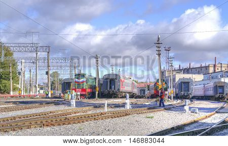 SARATOV RUSSIA - September 09.2016: Train parking equipment and train service in the city railway depot