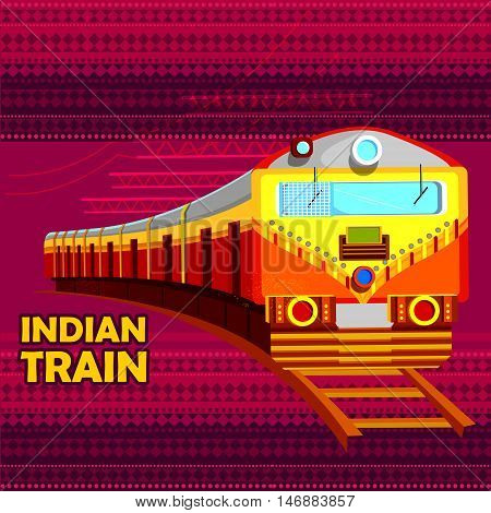 easy to edit vector illustration of Indian Railway Train representing colorful India
