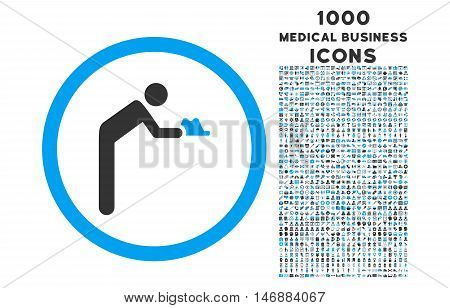 Servant rounded glyph bicolor icon with 1000 medical business icons. Set style is flat pictograms, blue and gray colors, white background.