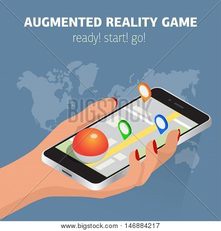 Flat isometric mobile game catch illustration. Human hand hold smartphone. Virtual MMOG game 3d isometry concept