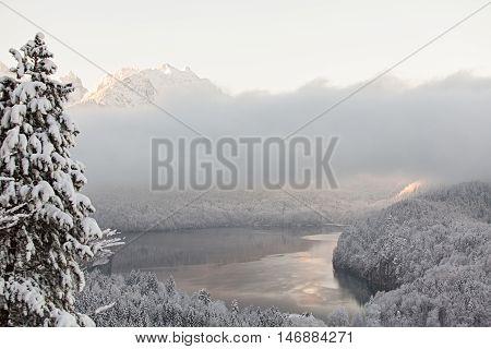 Alpsee lake in winter landscape in Germany