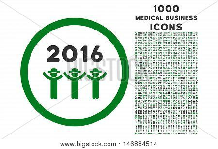 2016 Guys Dance rounded glyph bicolor icon with 1000 medical business icons. Set style is flat pictograms, green and gray colors, white background.