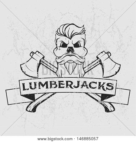 Lumberjack logo, t-shirt design with illustrated beard skull axes and ribbon. Hand drawn illustration