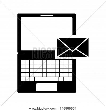 flat design laptop frontview and message envelope icon vector illustration
