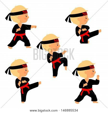 Set of karate poses in cartoon style. Martial arts for kids illustration. Cute boy practices kicks. Kid in black kimono with red belt and head band with