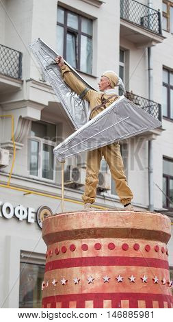 Moscow - September 10 2016: Actor with wings - installation at the carnival on Tverskaya Street in the City Day September 10 2016 Moscow Russia