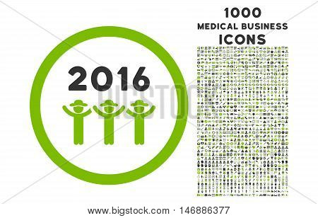 2016 Guys Dance rounded glyph bicolor icon with 1000 medical business icons. Set style is flat pictograms, eco green and gray colors, white background.