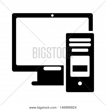 flat design computer monitor and cpu tower icon vector illustration