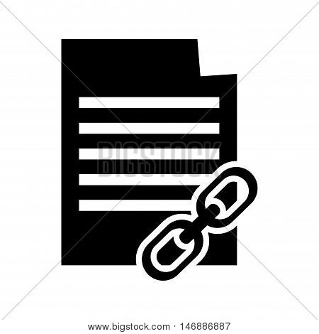 flat design paper document and link icon vector illustration