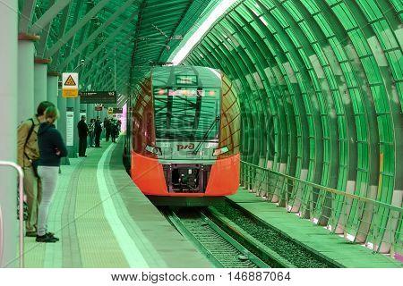 Lastochka Commuter Train At The Railway Station