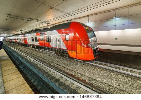 Lastochka Commuter Train. Moscow Central Circle Line.