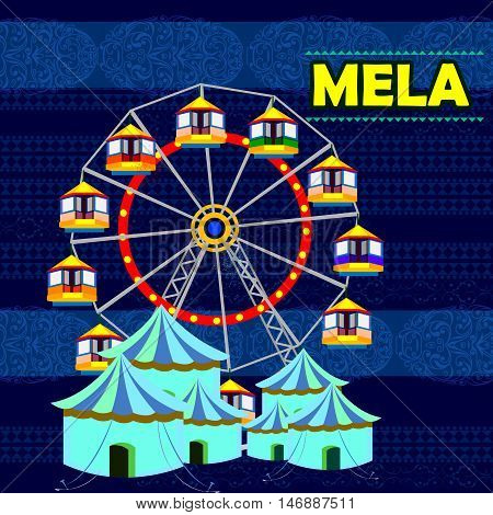 easy to edit vector illustration of Indian Mela Funfair representing colorful India