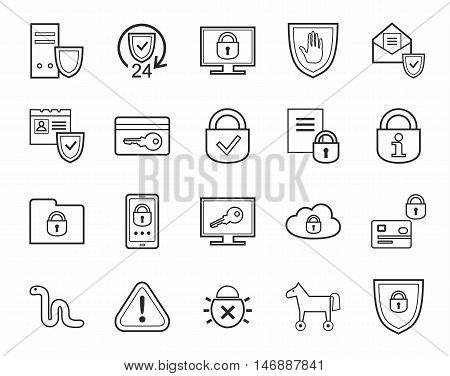 Information protection, contour icons, monochrome. Information technology, data security system. Vector, black, contour icons on white background.