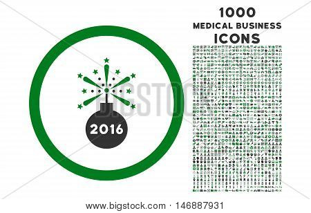 2016 Fireworks Detonator rounded glyph bicolor icon with 1000 medical business icons. Set style is flat pictograms, green and gray colors, white background.