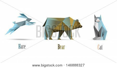Vector polygonal illustration of animals cat, bear, hare, modern low poly icons, origami style isolated animals