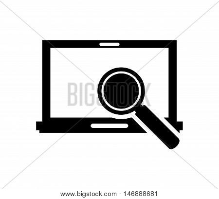 flat design laptop frontview and magnifying glass icon vector illustration