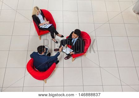 Business Man Boss Hand Shake, Businesspeople Sit In Chair Top Angle View, Businessman Handshake Sign Up Contract Agreement Deal