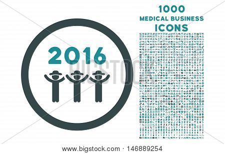 2016 Guys Dance rounded glyph bicolor icon with 1000 medical business icons. Set style is flat pictograms, soft blue colors, white background.