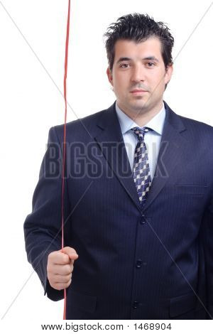 Man Holding A Red String In His Hand