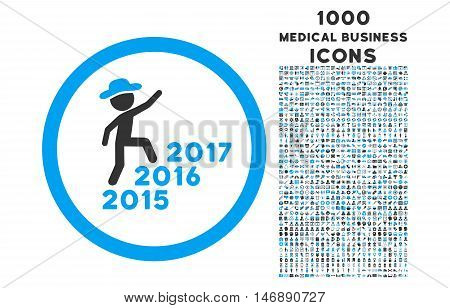 Gentleman Steps Years rounded glyph bicolor icon with 1000 medical business icons. Set style is flat pictograms, blue and gray colors, white background.