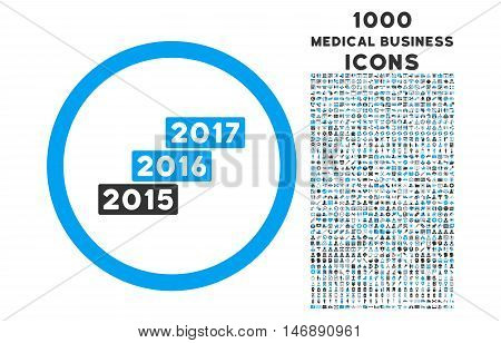 Years Stairs rounded glyph bicolor icon with 1000 medical business icons. Set style is flat pictograms, blue and gray colors, white background.