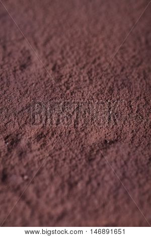 Top view of Tiramisu with cacao powder on it. Close up of cacao surface and texture