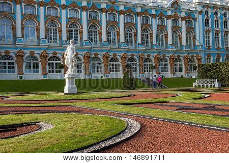 Catherine Palace is the Rococo summer residence of the Russian tsars located in the town of Tsarskoye Selo (Pushkin) 25 km south-east of St. Petersburg Russia.