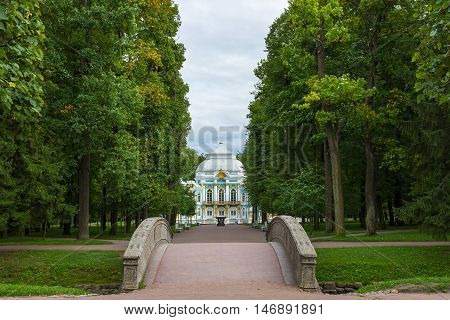 View of the Pavillion Hermitage of the Catherine Palace Pushkin. St. Petersburg. Russia