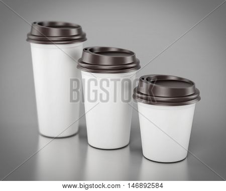Close-up Disposable Plastic Cups Of Different Sizes. 3D Rendering