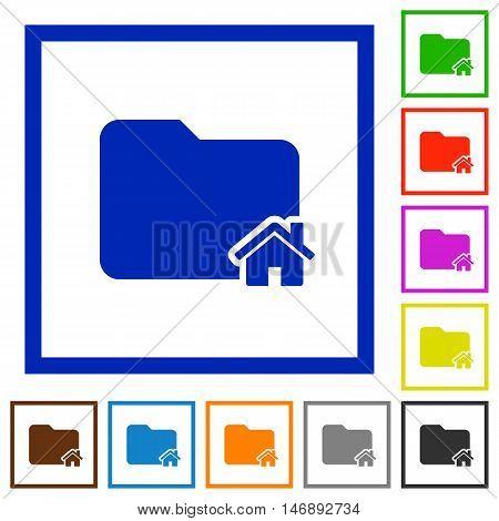 Set of color square framed home folder flat icons