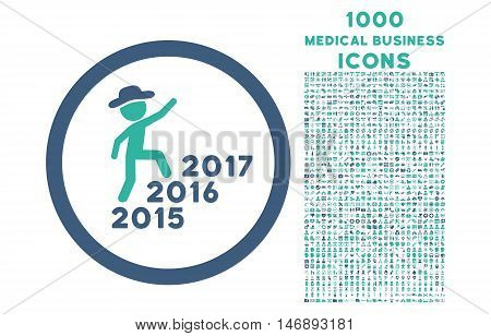 Gentleman Steps Years rounded glyph bicolor icon with 1000 medical business icons. Set style is flat pictograms, cobalt and cyan colors, white background.