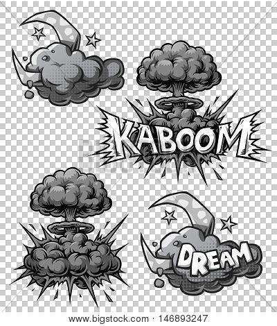 Vector set of monochrome comics icons. Explosion bubbles. Comic book explosion set