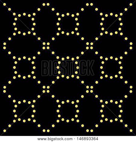 Yellow symmetrical seamless pattern on black, vector illustration