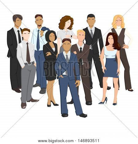 Vector illustrations of business men and women in different poses