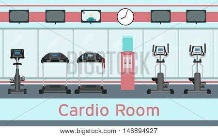 Treadmills exercise bike elliptical trainers cardio equipment in gym interior. Vector illustration in flat style. Cardio room.